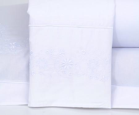 Jogo de Lençol com Bordado Laccio Branco - 200 Fios | WestwingNow