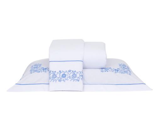 Jogo de Lençol com Bordado Laccio Branco e Azul - 200 Fios, Azul   WestwingNow