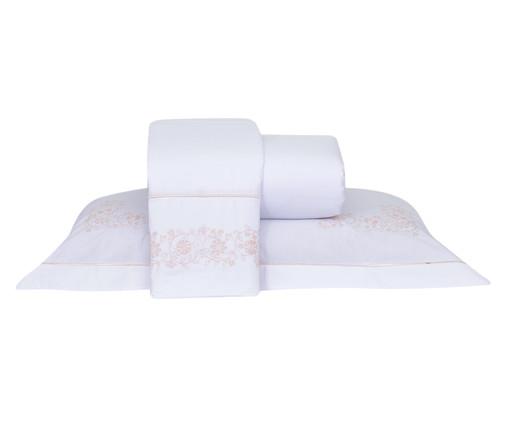 Jogo de Lençol com Bordado Laccio Branco e Rosa - 200 Fios, Rosa | WestwingNow