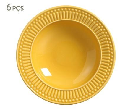 Jogo de Pratos Fundos em Cerâmica Roma - Amarelo | WestwingNow