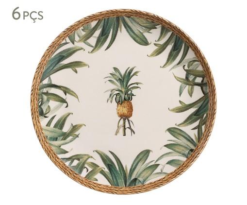 Jogo de Pratos Rasos em Cerâmica Pineapple Natural 06 Pessoas - Verde, Verde   WestwingNow