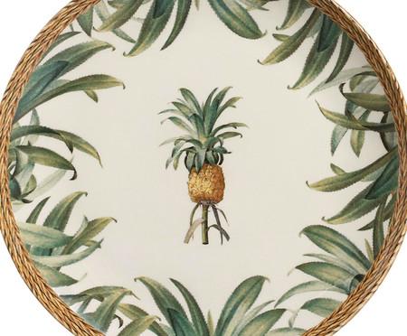Jogo de Pratos Rasos em Cerâmica Pineapple Natural 06 Pessoas - Verde | WestwingNow