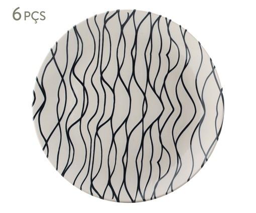 Jogo de Pratos Rasos em Cerâmica Coup Al Mare 06 Pessoas - Preto e Branco, Branco   WestwingNow