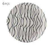 Jogo de Pratos Rasos em Cerâmica Coup Al Mare 06 Pessoas - Preto e Branco | WestwingNow
