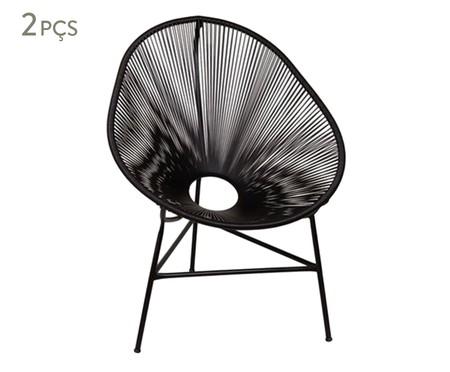 Jogo de Cadeiras Acapulco Baka Preta - 02 Peças | WestwingNow