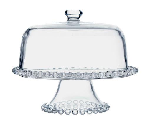 Prato para Bolo com Pé e Tampa em Cristal Pearl, Transparente | WestwingNow