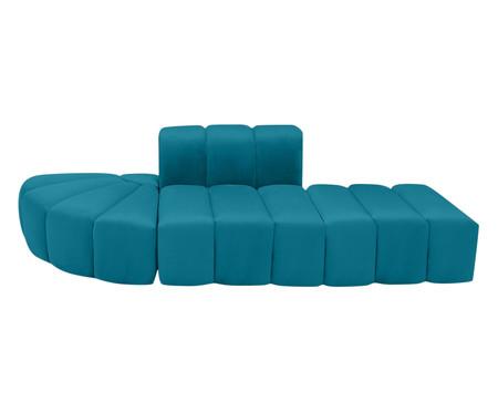 Jogo Bud 3 Módulos em Veludo - Azul Pavão | WestwingNow