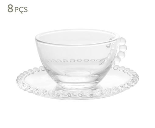 Jogo de Xícaras de Chá e Pires em Cristal Pearl - Transparente, Transparente   WestwingNow