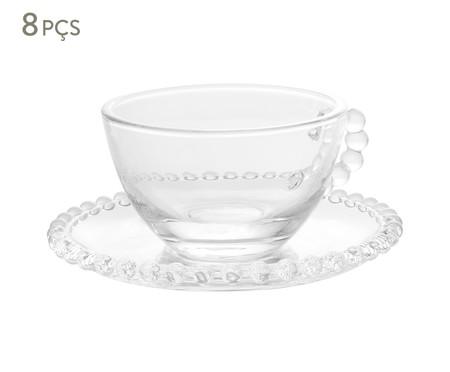Jogo de Xícaras de Chá e Pires em Cristal Pearl - Transparente | WestwingNow