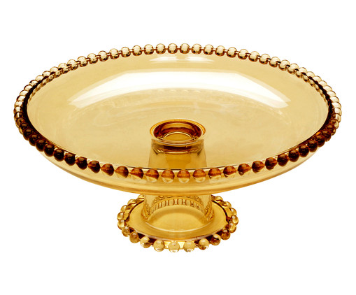 Prato em Cristal para Bolo em Cristal Pearl com Pé - Âmbar, Âmbar   WestwingNow