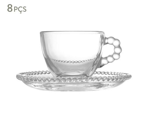 Jogo de Xícaras de Café e Pires em Cristal Pearl - Transparente, Transparente   WestwingNow