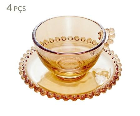 Jogo de Xícaras para Chá em Cristal Pearl - Âmbar   WestwingNow