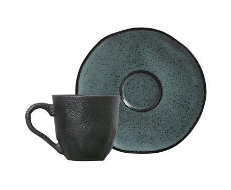 Jogo de Pratos e Xícaras em Cerâmica Orgânico Petroleum - 06 Pessoas | WestwingNow