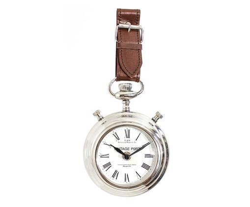 Relógio de Parede com alça de Couro Lacey, Prata ou Metálico | WestwingNow