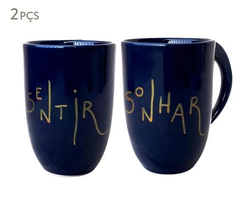 Jogo de Canecas em Porcelana Sentir Sonhar, Azul   WestwingNow