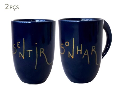 Jogo de Canecas em Porcelana Sentir Sonhar | WestwingNow
