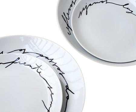 Jogo de Pratos em Porcelana Luz, Liberdade, Caminho em Frente | WestwingNow
