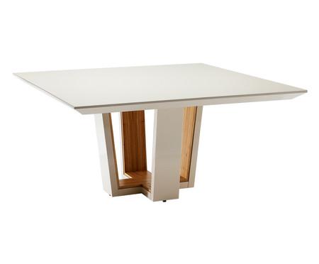 Mesa de Jantar em Vidro Quadrada Emanueli - Branco | WestwingNow