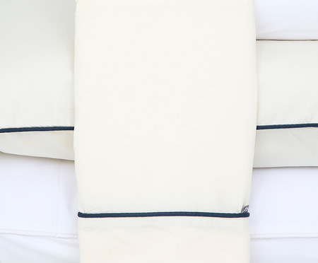 Jogo de Lençol Basic Branco e Azul Petróleo - 250 Fios | WestwingNow