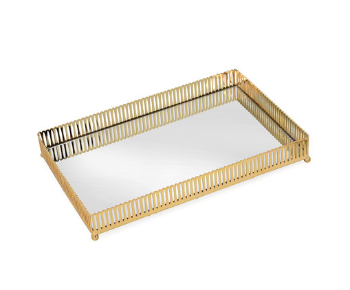 Bandeja Decorativa Lizzie - Dourada, Dourado e Espelhado | WestwingNow