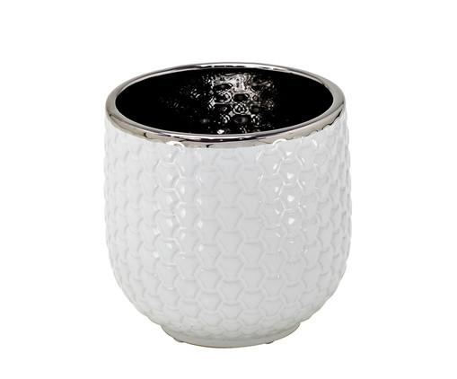 Vaso de Cêramica Zoe - Branco, Branco e Prata | WestwingNow