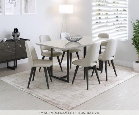 Mesa de Jantar Retangular Iron - Off White e Preta | WestwingNow