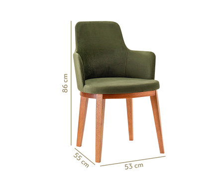 Cadeira de Madeira com Braço Dora - Verde Musgo | WestwingNow