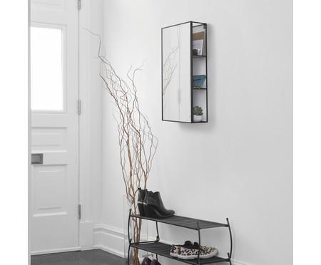 Espelho de Parede com Prateleira Sarah - Preto | WestwingNow