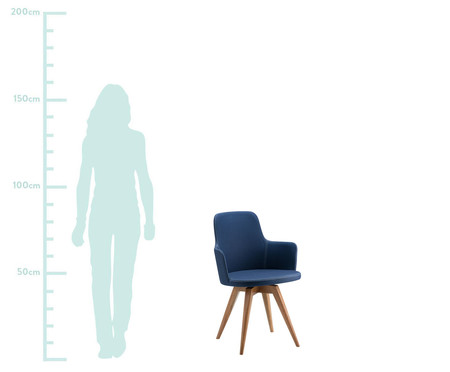 Cadeira Giratória de Madeira Tina - Azul Marinho | WestwingNow