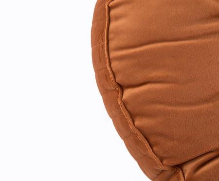 Almofada Botão Redonda em Veludo Lateral Ripado Terra - 45x12cm | WestwingNow