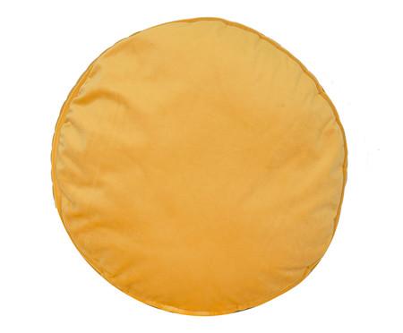 Almofada Redonda em Veludo Lateral Ripado Dourada - 45x15cm | WestwingNow