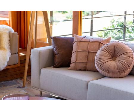 Almofada Botão Redonda em Veludo Lateral Ripado Rosé - 45x12cm | WestwingNow