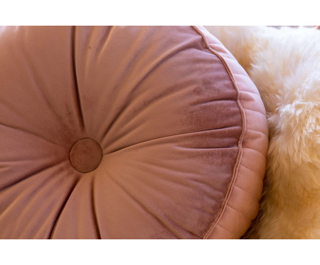 Almofada Botão Redonda em Veludo Lateral Ripado Rosé - 45x12cm   WestwingNow