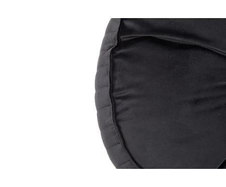Almofada Botão Redonda em Veludo Lateral Ripado Preto - 45x12cm | WestwingNow