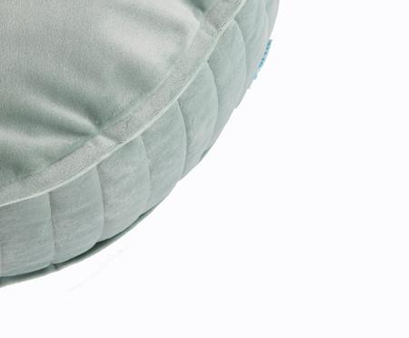 Almofada Redonda em Veludo Lateral Ripado Verde Água - 45x15cm | WestwingNow