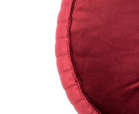 Almofada Botão Redonda em Veludo Lateral Ripado Vinho - 45cm | WestwingNow