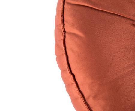 Almofada Botão Redonda em Veludo Lateral Ripado Terracota - 45x12cm | WestwingNow