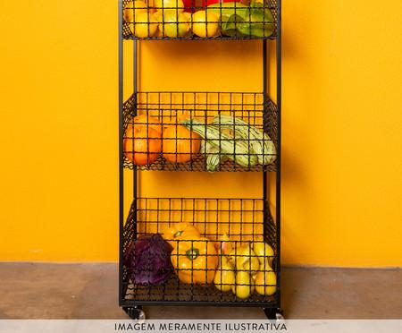 Fruteira com Rodízios Grid - Preta | WestwingNow