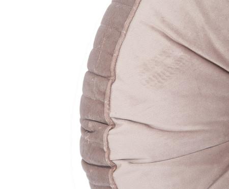 Almofada Botão Redonda em Veludo Lateral Ripado Bege - 45x12cm | WestwingNow