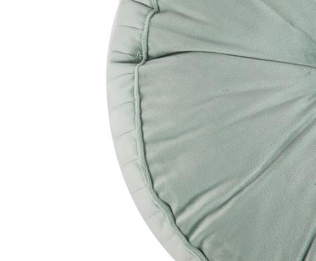 Almofada Botão Redonda em Veludo Lateral Ripado Verde Água - 45x12cm | WestwingNow