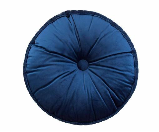 Almofada Botão Redonda em Veludo Lateral Ripado Marinho - 45x12cm, azul   WestwingNow