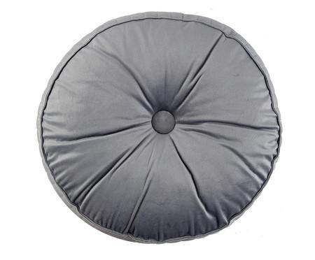 Almofada Botão Redonda em Veludo Lateral Ripado Cinza - 45x12cm | WestwingNow