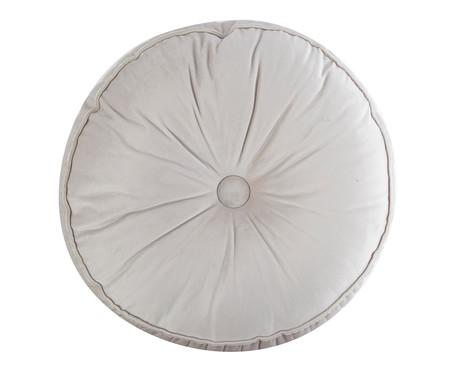 Almofada Botão Redonda em Veludo Lateral Ripado Gelo - 45x12cm | WestwingNow