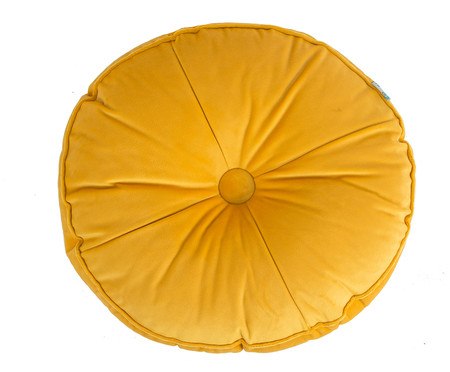 Almofada Botão Redonda em Veludo Lateral Ripado Dourada - 45x12cm | WestwingNow