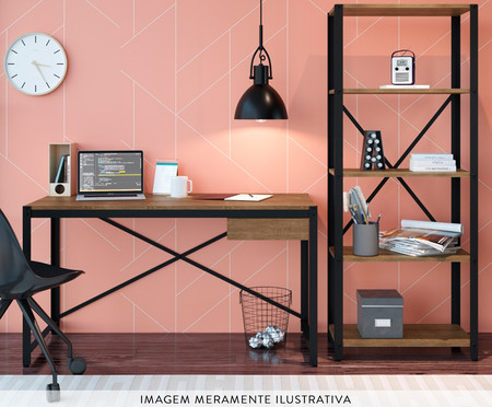 Conjunto Escrivaninha e Estante Sextans Industrial - Natural e Preto   WestwingNow