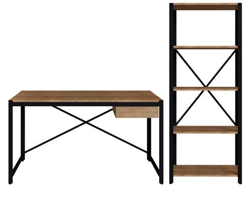Conjunto Escrivaninha e Estante Sextans Industrial - Natural e Preto, Preto | WestwingNow