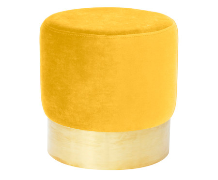 Pufe em Veludo Harlow - Amarelo Alçafrão | WestwingNow