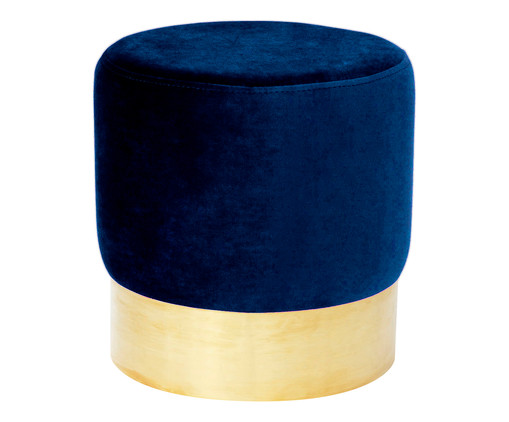 Pufe em Veludo Harlow - Azul Índigo, Azul Índigo | WestwingNow