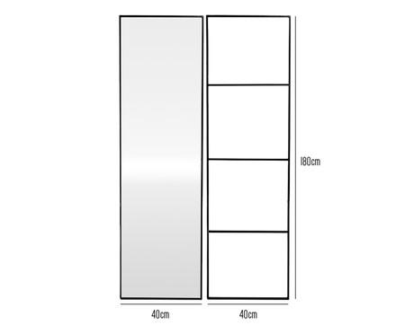 Jogo de Espelho e Escada Eura - Preto | WestwingNow