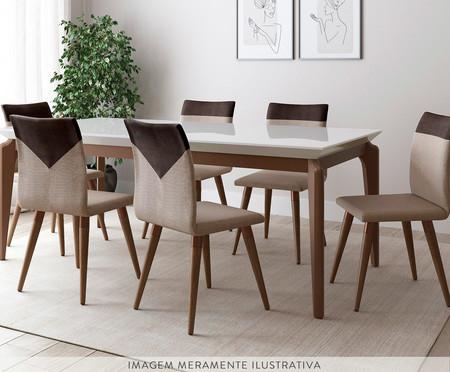 Jogo de Mesa de Jantar Retangular com Cadeiras Becca - 06 Pessoas | WestwingNow